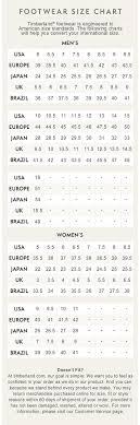 Timberland Women S Shoes Size Chart 49 Cogent Timberland Width Size Chart
