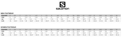 Salomon Running Shoes Size Chart Name