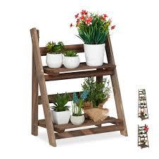 Details About Blumentreppe Holz Pflanzentreppe Blumenleiter Blumenregal Braun Leiterregal