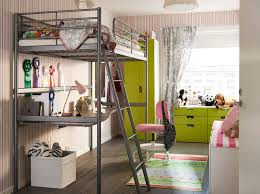 children s bedroom with green accent and silver coloured loft bed frame with desk under