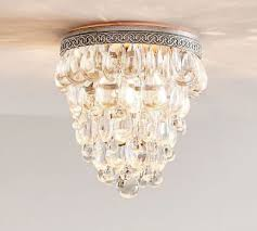 pottery barn clarissa 9 round crystal drop flushmount ceiling light fixture