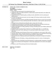 Media Relations Coordinator Resume Sample Velvet Jobs