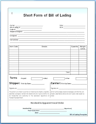 Bill Of Lading Sample Template Pdf Free Dealbrothers Co