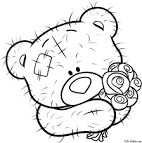 Раскраска мишку тедди с сердечком