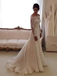 off the shoulder buttoned long sleeve lace wedding dress tidebuy com