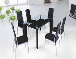 Black Small Glass Dining Table With Black Legs Connected By Six Black
