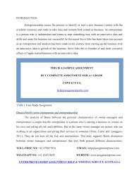 Introduction To Entrepreneurship Ppt Sample Assignment An Introduction To Entrepreneurship