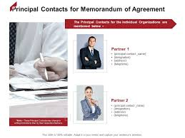 Memorandums And Letters Powerpoint Principal Contacts For Memorandum Of Agreement Partner Ppt