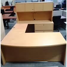 office desk hutch plan. Used U-shaped Maple Desk W/ Hutch Office Plan