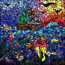 stained glass window on the marine theme ship sky sun birds