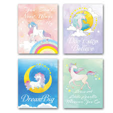 Amazoncom Hpniub Abstract Unicorn Art Print With Inspirational