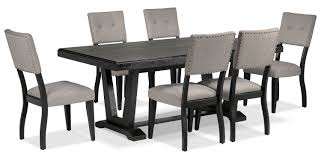 7 piece black dining room set. 7-Piece Dining Room Set - Black And Grey. Hover To Zoom 7 Piece I