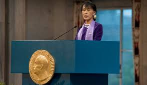 aung san suu kyi nobel lecture aung san suu kyi delivering her nobel lecture in the oslo city hall