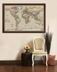 World Map Home Decor Framed Maps Wood And Aluminum Frames For Wall Maps