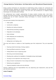 energy systems technicians job description and educational requiremen
