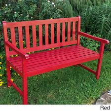 red garden bench outdoor wood antique finish porch patio pool courtyard deck new 4
