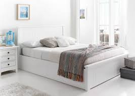 Ottoman Bedroom New England Soft White Wooden Ottoman Storage Bed Painted Wood