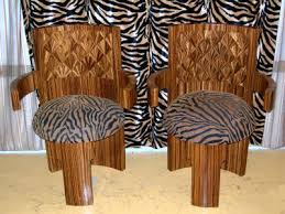 pair of art deco parquetry style chair in zebra print art deco furniture style art deco armchair