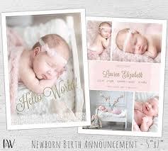 Template For Birth Announcement Newborn Announcement Template Photoshop Template New Baby