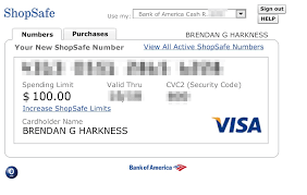 generating a virtual credit card with bank of america safe