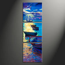 Small Picture 3 Piece Canvas Blue Sunrise Ocean Oil Paintings Pictures