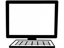 パソコンの白黒フレーム飾り枠イラスト 無料イラスト かわいいフリー