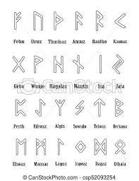 Rune Set Of Outline Letters Alphabet On White Background Runic Alphabet Writing Ancient Futhark Vector Illustration