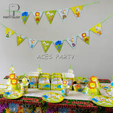 Jungle Theme Birthday Invitations Us 21 01 12 Off For 8kids 74pcs Jungle Safari Animals Theme Birthday Party Supplie Tableware Set Plate Straw Glass Candybox Invitation Ect In