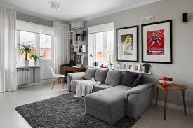 captivating living room with grey bed sofa and white curtain decor ideas