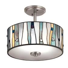 stained glass ceiling light portfolio brushed nickel clear glass semi flush mount light at