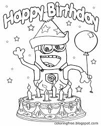 Small Picture Big party cake with candles happy birthday minion coloring pages