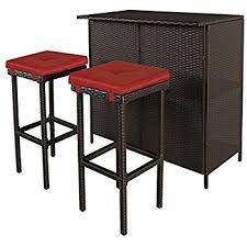 table 2 stools. cloud mountain 3 pc patio bar set outdoor garden backyard rattan table 2 stools barstool u
