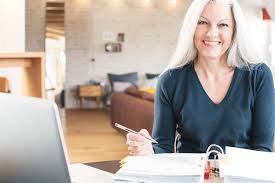 home office work. woman in home office work