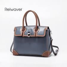 relwaver women handbag genuine leather navy blue shoulder bag fashion patchwork women leather handbags chic top handle tote bag travel bags for men