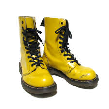 10 hall leather boots vintage flat rockabilly made in the yellow yellow leather shoes u k