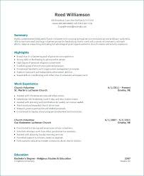 Resume Examples Word Church Volunteer Resume Church Volunteer Resume
