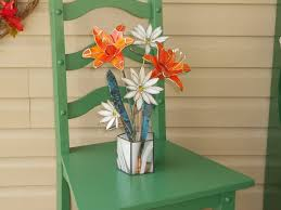 custom made tiger lilies and daisies in stained glass centerpiece sculpture