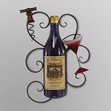wine bottle metal wall decor plaque sculpture kitchen bar niche home office art