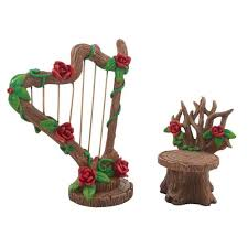 furniture fairy. Furniture Fairy. Miniature Rose Harp And Chair Set For A Fairy Garden O R