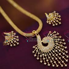 ps6575 peacock design stone filled chain cz pendant earrings offer