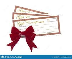 Holiday Gift Certificates Red And Gold Holiday Gift Certificates Stock Photo Image