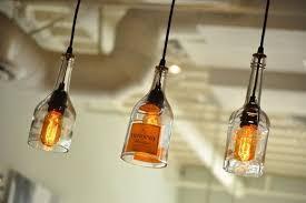 bottle lighting. Glass Bottle Lighting. Custom Made Recycled Hanging Gin Lamp Pendant With Edison Lightbulb Lighting M