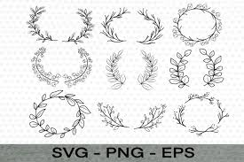 Great for cricut design space, silhouette cameo, clipart, scrapbooking and other craft projects. 9 Leaves Clipart Wreath Svg Cut File Wild Flower Leaves 930222 Illustrations Design Bundles