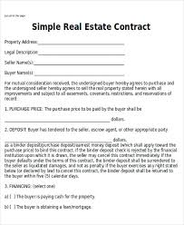 Purchase Agreement Samples Sample Real Estate Sales Contract