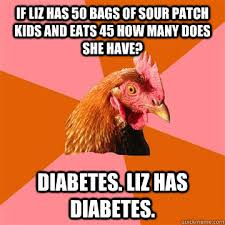 If Liz has 50 bags of Sour Patch Kids and eats 45 how many does ... via Relatably.com
