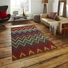 100 wool aztec rug hand tufted zigzag pattern