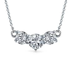 bling jewelry past present future round cz necklace 925 silver 16in