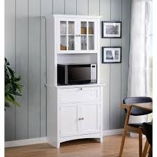 os home and office furniture white buffet and hutch with framed glass doors and drawer