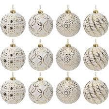 12 Stück Weihnachtskugeln ø8cm 4 Sorten Weiß Und Gold