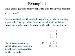 example 1 solve each equation show your work and check your solution